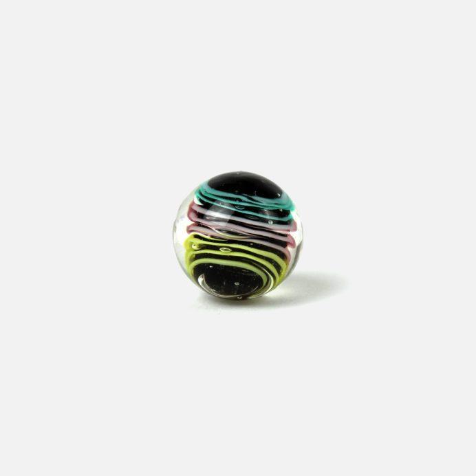 16 mm Glasmurmel Schnörkel schwarz