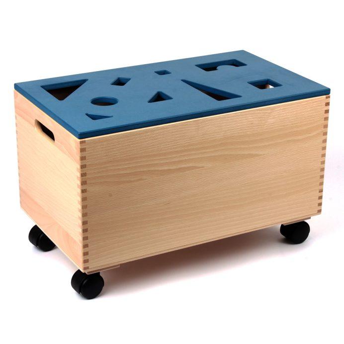 Bausteinwagen mit blauem Puzzledeckel
