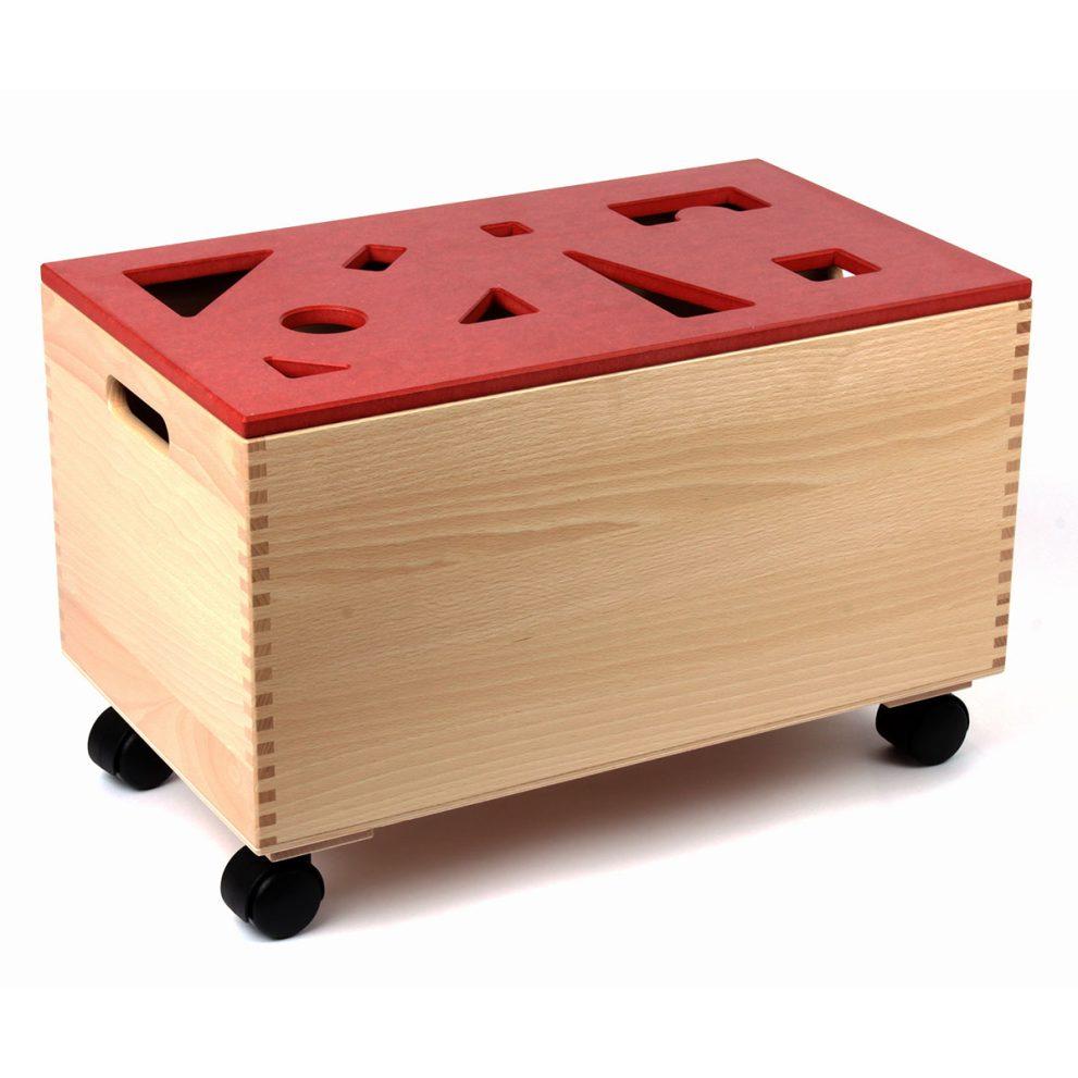 Bausteinwagen mit rotem Puzzledeckel